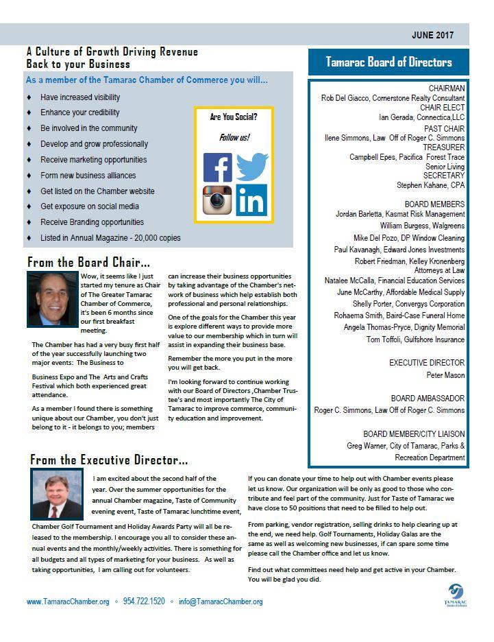 Newsletter 3 - Tamarac Chamber of Commerce