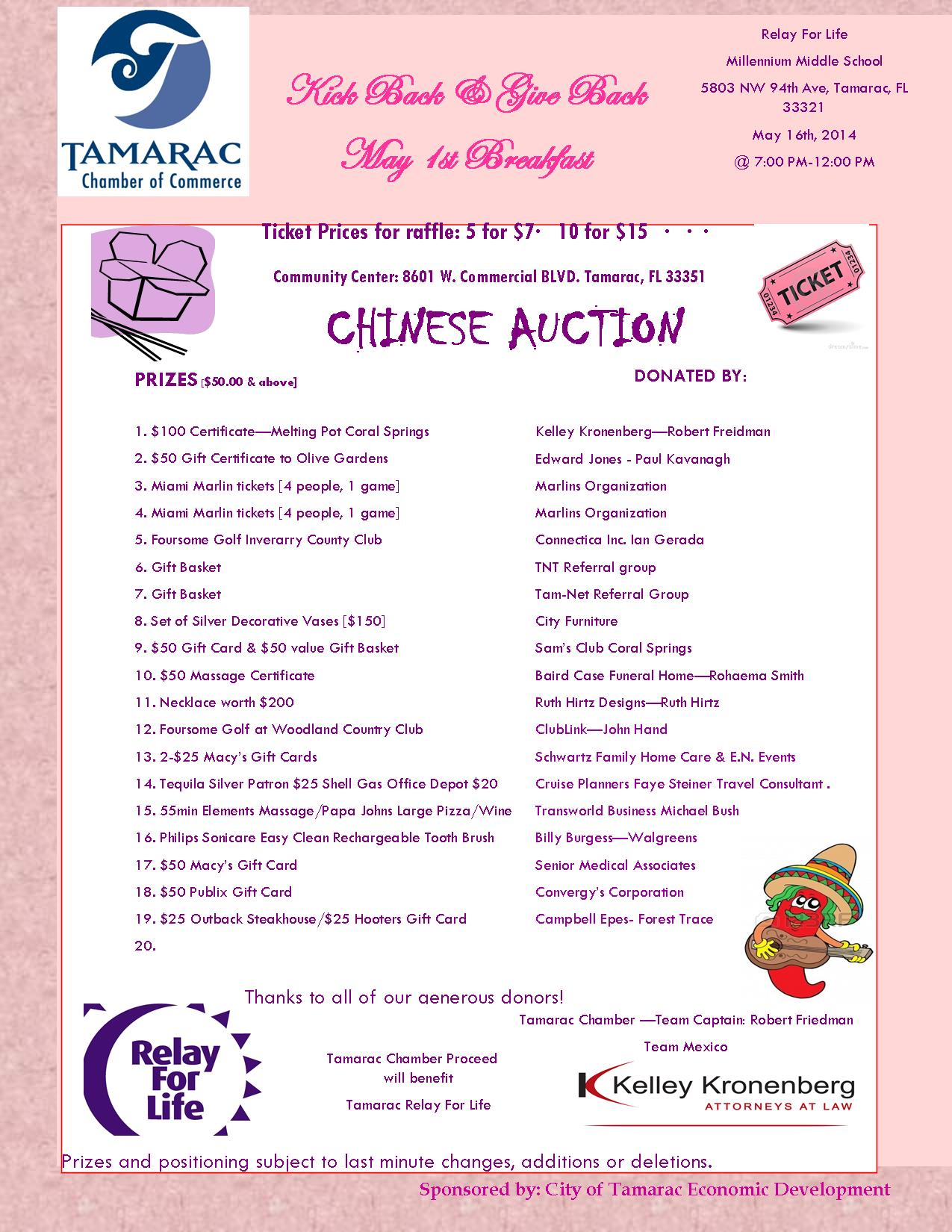 May 1 Chinese auction
