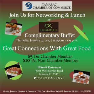 Greater Tamarac Chamber of Commerce Network and Lunch @ HiSushi | Pompano Beach | Florida | United States