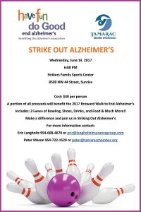 Strike Out Alzheimer's Bowling Tournament @ Strikers Family Sportscenter | Lauderhill | Florida | United States