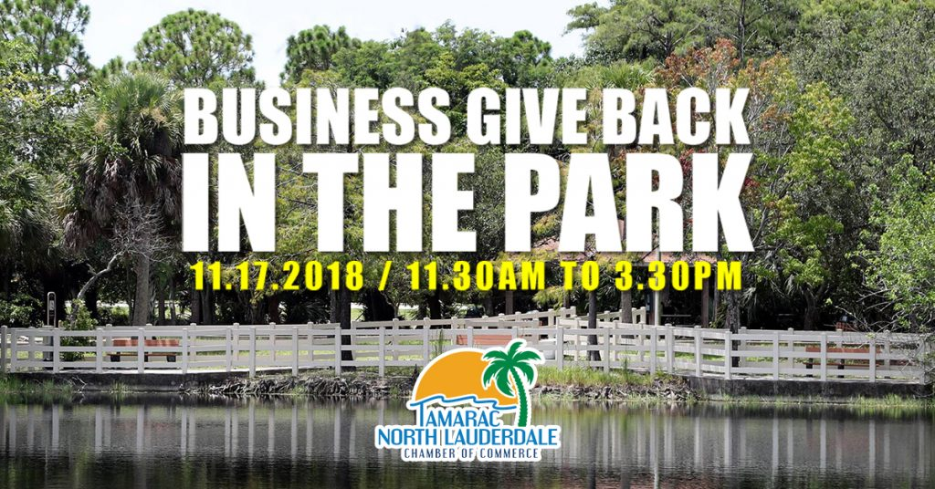 business give back in the park